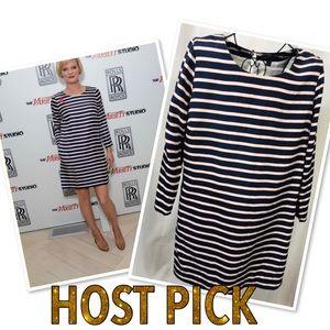 J Crew striped silk blend long sleeve dress Sz 12